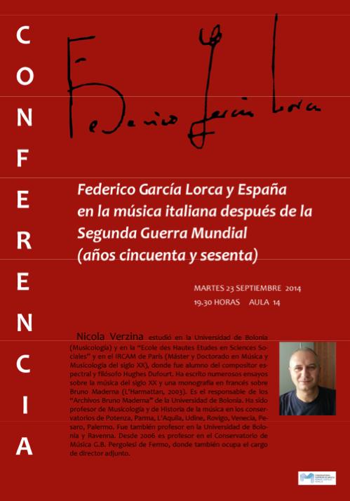 Conferencia - Lorca y España en la música italiana - Nicola Verzina